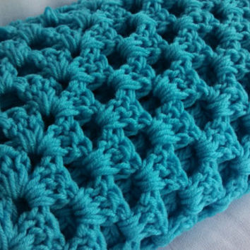 Bright, chunky, handmade, turquoise, throw, blanket, afghan crochet
