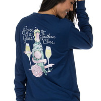 Lauren James Raise a Glass Tee in Estate Blue