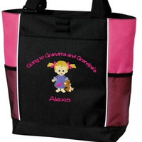 Personalized Going to Grandma's, Nana's, Grandma and Grandpa's Nana and Papa's Overnight Tote Bag Embroidered