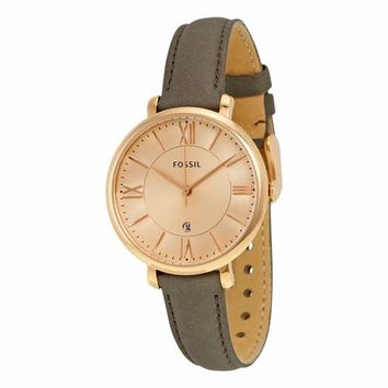 Fossil Womens ES3707 Rose Gold Case with Grey Leather Band Watch