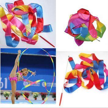 High Quality 4M Gym Dance Ribbon Rhythmic Art Gymnastic Ballet Streamer Twirling Rod #EW