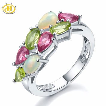 Natural Colorful Gemstone Opal Peridot Rodolite 925 Sterling Silver Ring Womens Fine Jewelry