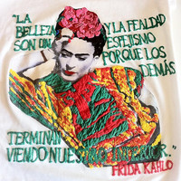 T-shirt - Frida Kahlo - Unisex precious painting relief . Multicolored. Italy.  Available for woman and  for man