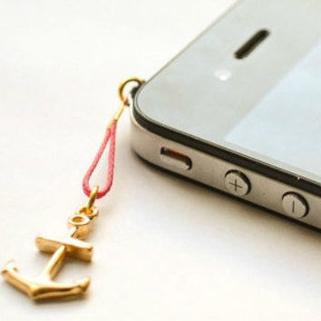 Anchor iPhone Earphone Plug, Dust Plug - gold anchor charm with pink cord. Cellphone Accessories, phone decoration, nautical charm