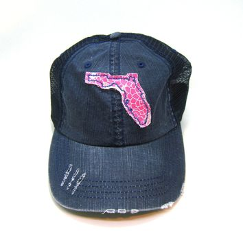 Florida Trucker Hat - Distressed - Floral Fabric State Cutout