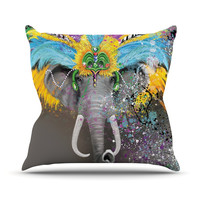 "Geordanna Cordero-Fields ""My Elephant with Headdress"" Gray Rainbow Outdoor Throw Pillow"