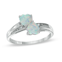 Heart-Shaped Lab-Created Opal and Diamond Accent Double Heart Ring in Sterling Silver