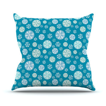 "Julie Hamilton ""Snowflake Sky"" Blue Outdoor Throw Pillow"