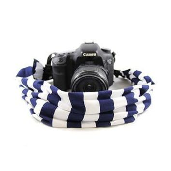Navy Stripe Scarf Camera Strap - Capturing Couture - CASCARF-STNV