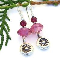 Thai Suns and Pink Lampwork Earrings, Garnet Fine Silver Handmade Dangle Jewelry