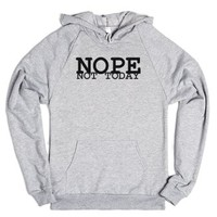 Nope Not Today Grey Hoodie-Unisex Heather Grey Hoodie