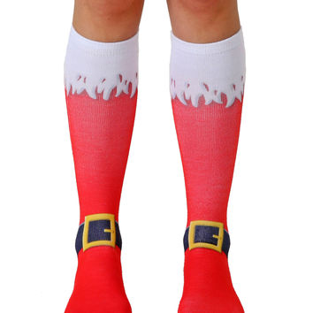 Santa Boots Knee High Socks