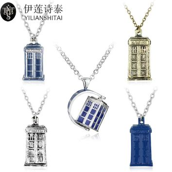 Dr. Mysterious Police Box House Alloy Pendant & Neckalces Doctor Who Necklace Halloween Pendants Movie Jewelry Christmas Gift