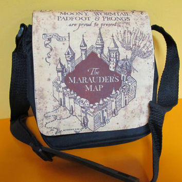 MESSENGER SHOULDER BAG,Mischief Managed, Harry Potter bag, Harry Poter, Marauders map bag