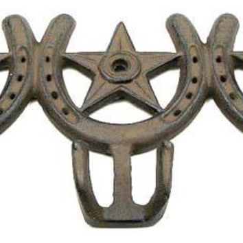 Cast Iron Horseshoe Star 3 Hooks