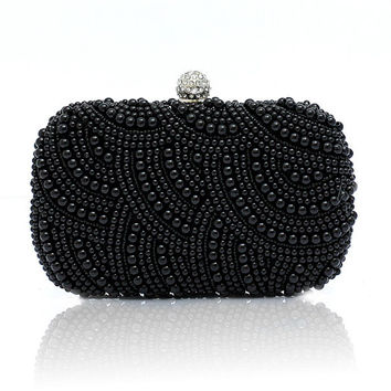 Black clutch with pearls & crystals, pearl party bag,beaded evening bag,handcrafted