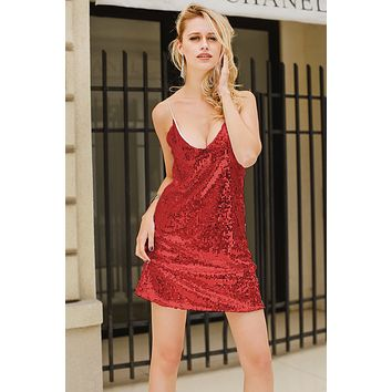 Summer Hot Sale Women Sexy Sequins V Collar Slip Dress Burgundy