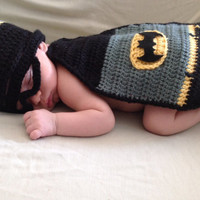 Handmade Crochet Batman inspired outfit set (hat, mask and cape) in any size you like.