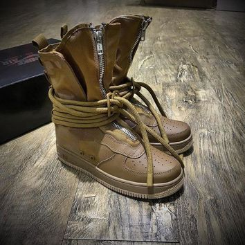 LMFUX5 Newest Nike SF Air Force 1 High AF1 Beige Functional Boots Dark Brown AA1128-204