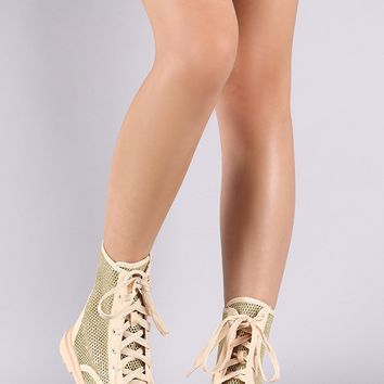 Mesh Round Toe Lace Up Booties