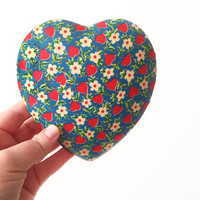 Vintage Heart Shaped Trinket Box / Ceramic Jewelry Holder / Colorful Floral and Heart Pattern / Unique Decorative Storage