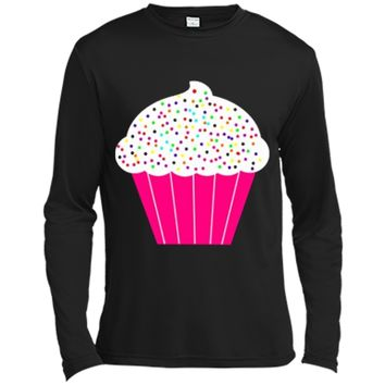 Cupcake Fun Food Costume  White Frosting Sprinkles Long Sleeve Moisture Absorbing Shirt