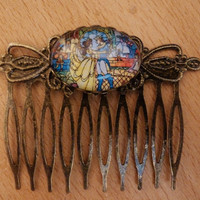 Vintage style Disney Beauty and the Beast stained glass cameo haircomb