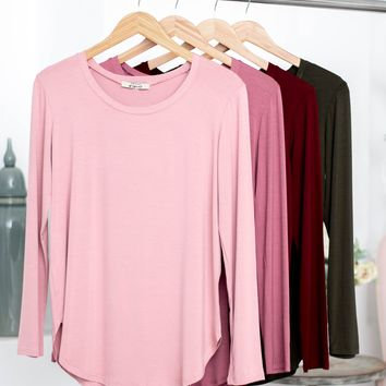 Round Neck Long Sleeve Top | Fall Colors