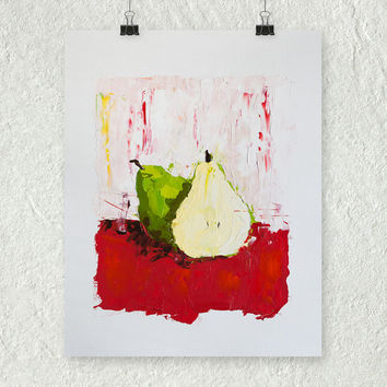 Pear Painting, Colorful Still Life, Small Wall Art Home Decor, Original Oil Painting, Palette Knife Painting, Art on Paper, Kitchen Painting