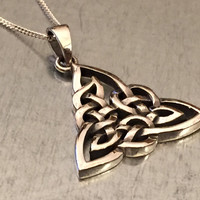 Celtic Knot Necklace, Triquetra Necklace, Celtic, Sterling Silver Pendant, Gift Necklace, Holiday Gift. Wedding Gift