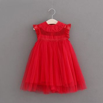 High Quality Xmas Baby Girls dress Princess Party Lace Tulle Dress vintage toddler kids new year clothing 2-7Yrs