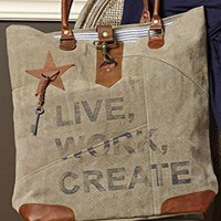 Mona B Live, Work, Create Upcycled Canvas Bag M-2072 with Coin Purse