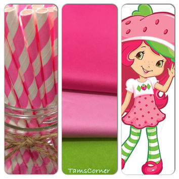 Strawberry shortcake ,set of 18 tissue paper pom poms and 1 pack of paper  straws/party decor/birthday decorations/paper poms/nursery pompom