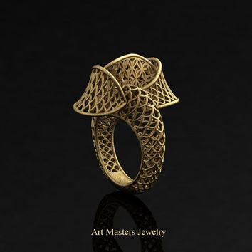 Yerevan - Cathartic Beauty 18K Yellow Gold Modern Rococo Lace Ring R530-18KYG