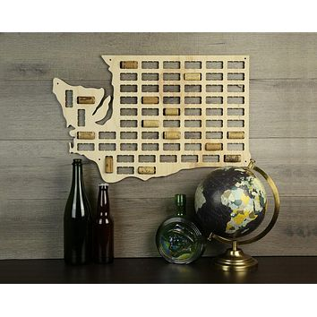 Washington Wine Cork Map