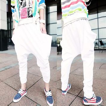 2014 New fashion Harem Casual brand Hip Hop Big crotch tapered Pants male baggies harem Trousers mens skinny sweatpants