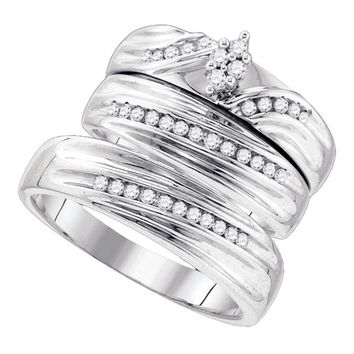 Sterling Silver His & Hers Round Diamond Cluster Matching Bridal Wedding Ring Band Set 3-8 Cttw - FREE Shipping (US/CAN)