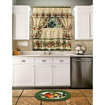 Ben&Jonah Collection Apple Orchard Cottage Window Curtain Set - 57x24 Tier Pair/57x36 Ruffled Topper with attached valance and tiebacks. - Antique