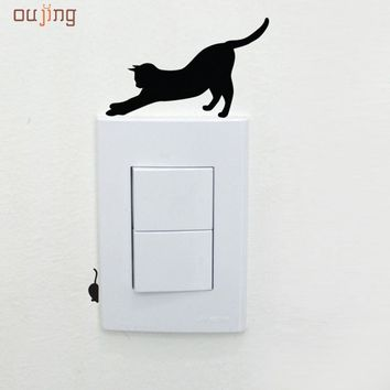 Oujing 14.5 x 11cm New Design Eight Types Black Cat Room Window Wall Decorating Switch Vinyl Decal Sticker Decor Happy Gifts #