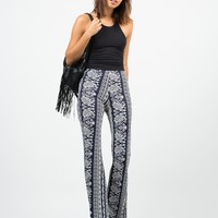Paisley Stretchy Flared Pants