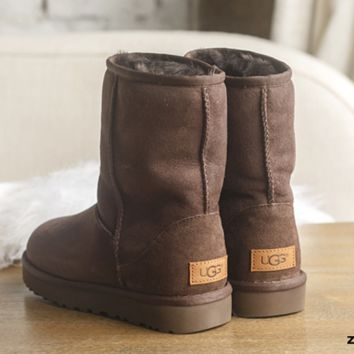 UGG Short boots antiskid warm lazy sheep fur simple ugg boots canister boots (5-color) Coffee