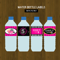 Hot Pink Movie Night Water Bottle Labels for Girls - Popcorn and Movies Printable Water Bottle Labels for Birthday or Baby Shower
