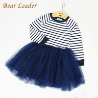 Bear Leader Girls Dress  Spring Girls Dresses Long Sleeve Blanck&White Striped Mesh Design Princess Dress Children Clothing