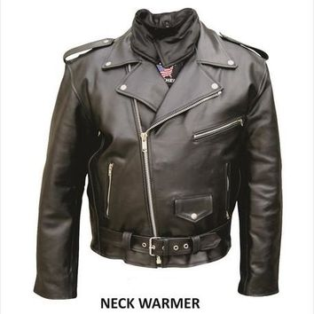 Men'S 52 Size Motorcycle Split Cowhide Black Leather zippered sleeves neck warmer belted Biker Jacket With Silver Hardware
