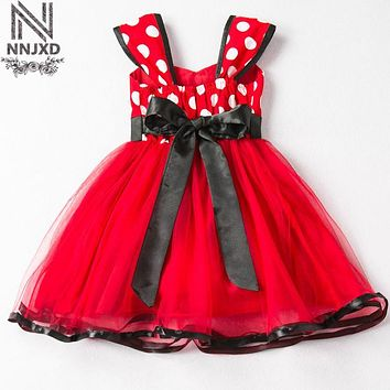 Summer Brand Baby Princess Dress For Girls Toddler Tutu Bow First Birthday Party Outfit Red Fancy Children Kids Prom Gown