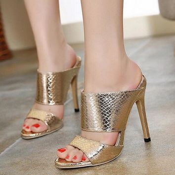 2018 High Heels Women Sandals Slippers Rome Serpentine High Thin Heel Female Sandals Pumps Shoes Gold Plus Size40