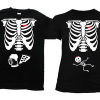 Halloween Costumes For Couples Shirt Skeleton T Shirt Pregnancy Announcement His And Hers Gifts For Expecting Mothers Dad To Be - SA845-379