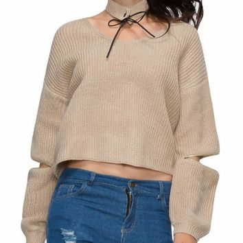 Knit Pullover Sweater with Choker