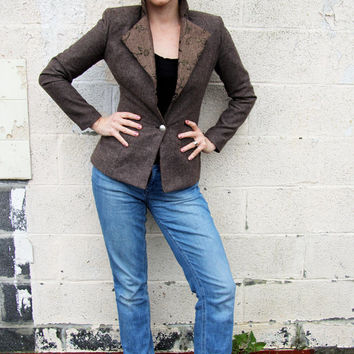 Tweed women jacket, slim fit brown tweed blazer