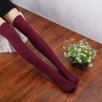 amtonseeshop Hot New Comfortable Warm Cotton Women Lady Girl Knit Over Knee Spiral Pattern Thigh Stockings High Socks (Red)